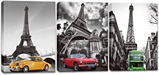 Innopics 3 Piece Eiffel Tower Vintage Cars Green Bus Picture Print on Canvas Black and White Background Painting Retro Style Wall Art Decor Stretched and Framed for Home Office Living Room Decoration