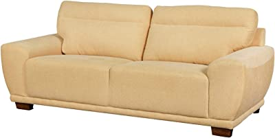 Benjara Fabric Upholstered Wooden Sofa with Block Tapered Feet, Brown, Beige
