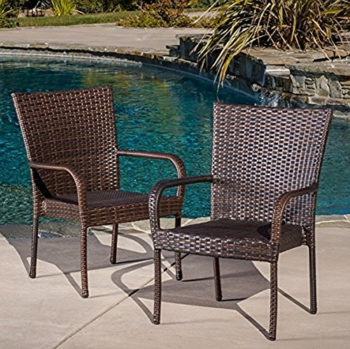 Littleton 2pk Wicker Patio Stackable Club Chair - Brown - Christopher Knight Home