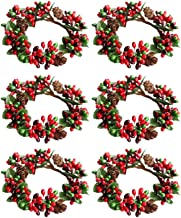 Amosfun 6pcs Christams Candle Rings Red Berry Candle Rings Wreaths with Pine Cones for Pillars Christams Table Decorations Centerpieces (Red and Green)