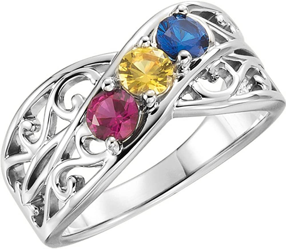 Filigree Lined Family Birthstone Mother's 5 55% OFF to Ranking TOP12 Ring 2
