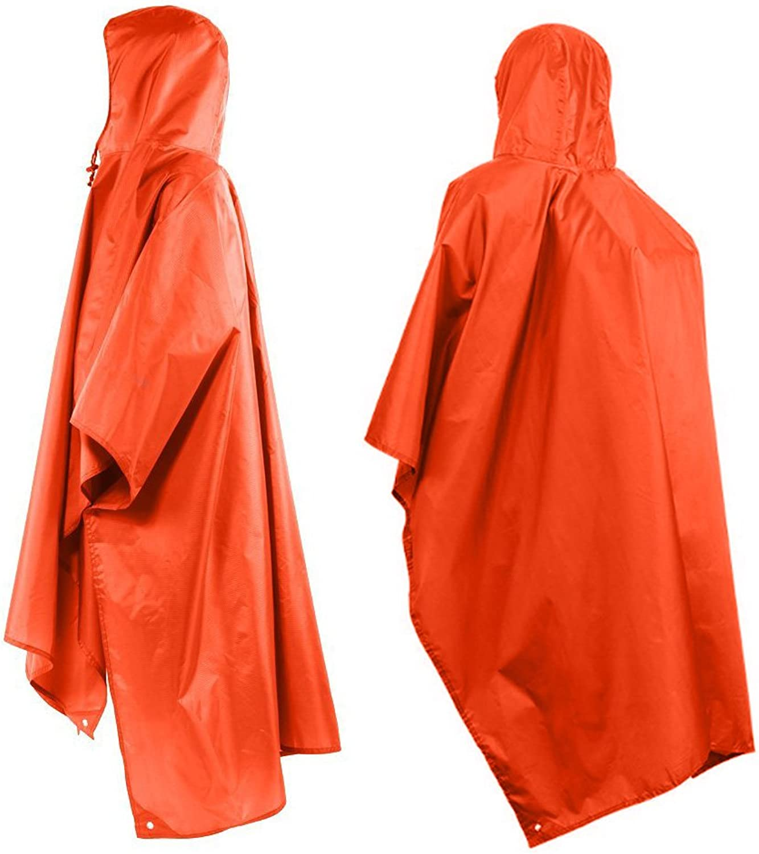 Tsonmall Rain Poncho Waterproof Raincoat with Hoods MultiFunctional Tarp for Outdoor Camping Cycling orange