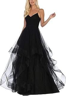 Tulle Prom Dresses Long Glitter Ball Gown Spaghetti V-Neck Wedding Dress for Women