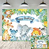 BUTEN Fondo temático de safari de la selva 7 x 5 pies de animales del bosque, fondos de fotos de feliz cumpleaños animales salvajes elefante mono zoológico niño fiesta de cumpleaños fotografía fondo