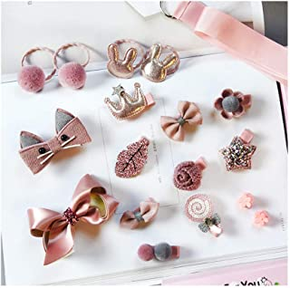 Baby Girl's Cute Bow Floral Animal Hair Accessories Set (18pcs) - Clips, Hair Tie, Claw Clip, with Hanger (Pink-C)