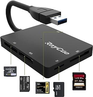 SD カード リーダー USB 3.0 マイクロ SD カード リーダー TF/Micro SD/SD/MS/XD/CF メモリ カード リーダー 5Gbps 高速データ/写真/ビデオ転送(ブラック)