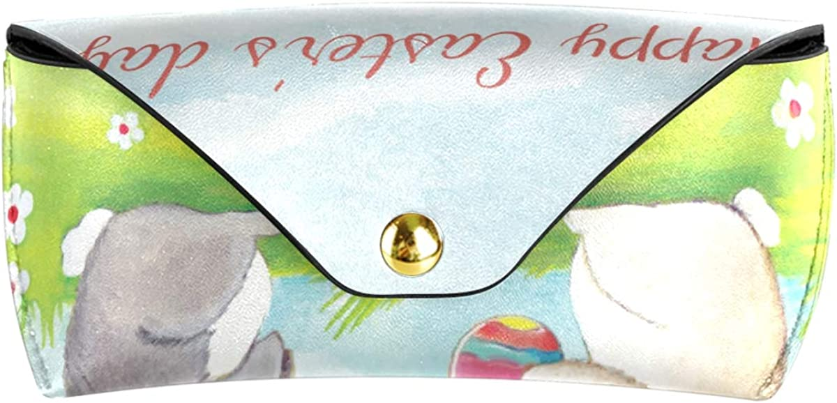 Goggles Bag Sunglasses Case Eyeglasses Pouch PU Leather Happy Easter Rabbit Multiuse Portable Storage