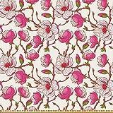 ABAKUHAUS Blume Stoff als Meterware, Rosa Magnolien-Garten,