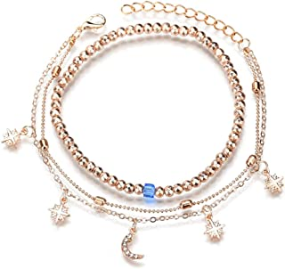 SHANZEH Multi-Layered Anklets for Women and Teen Girls. 3 Pieces Ankle-Bracelet in Gold Color Hebe 17