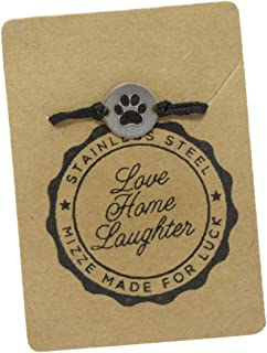 Stainless Steel Pet Lovers Charm on Double Black String Adjustable Bracelet for Men & Women - Waterproof, Hypoallergenic Jewelry