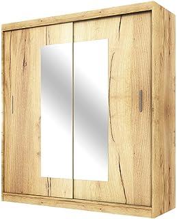 Selsey VANIVA - Armoire avec Miroir Portes coulissantes (chêne Lancaster, 180 cm)