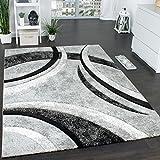 Paco Home Tappeto di Design con Bordo Definito A Righe in Grigio Nero Crema Screziato, Dimensione:200x290 cm