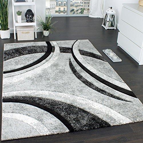 Paco Home Tappeto di Design con Bordo Definito A Righe in Grigio Nero Crema Screziato, Dimensione:160x230 cm