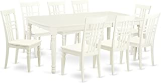 DOLG9-LWH-W 5 PC Kitchen Tables and chair set with a Dining Table and 8 Kitchen Chairs in Linen White