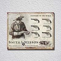 世界の標準スミスウェッソンティンサインの装飾ヴィンテージ壁金属プラークレトロアイアン絵画カフェバー映画ギフト結婚式誕生日警告