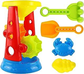 Homyl 5pcs Durable Sand Beach Toy Set for Kids with Water Wheel, Rake, Shovel and 2 Animal Molds