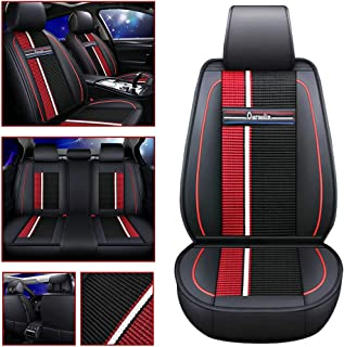 Car Seat Cover for Fiesta KA Mondeo ESCORT Ranger Mustang for 5-SEAT of Driving/Co-pilot/Second Row 3seat Leather Cover Black red