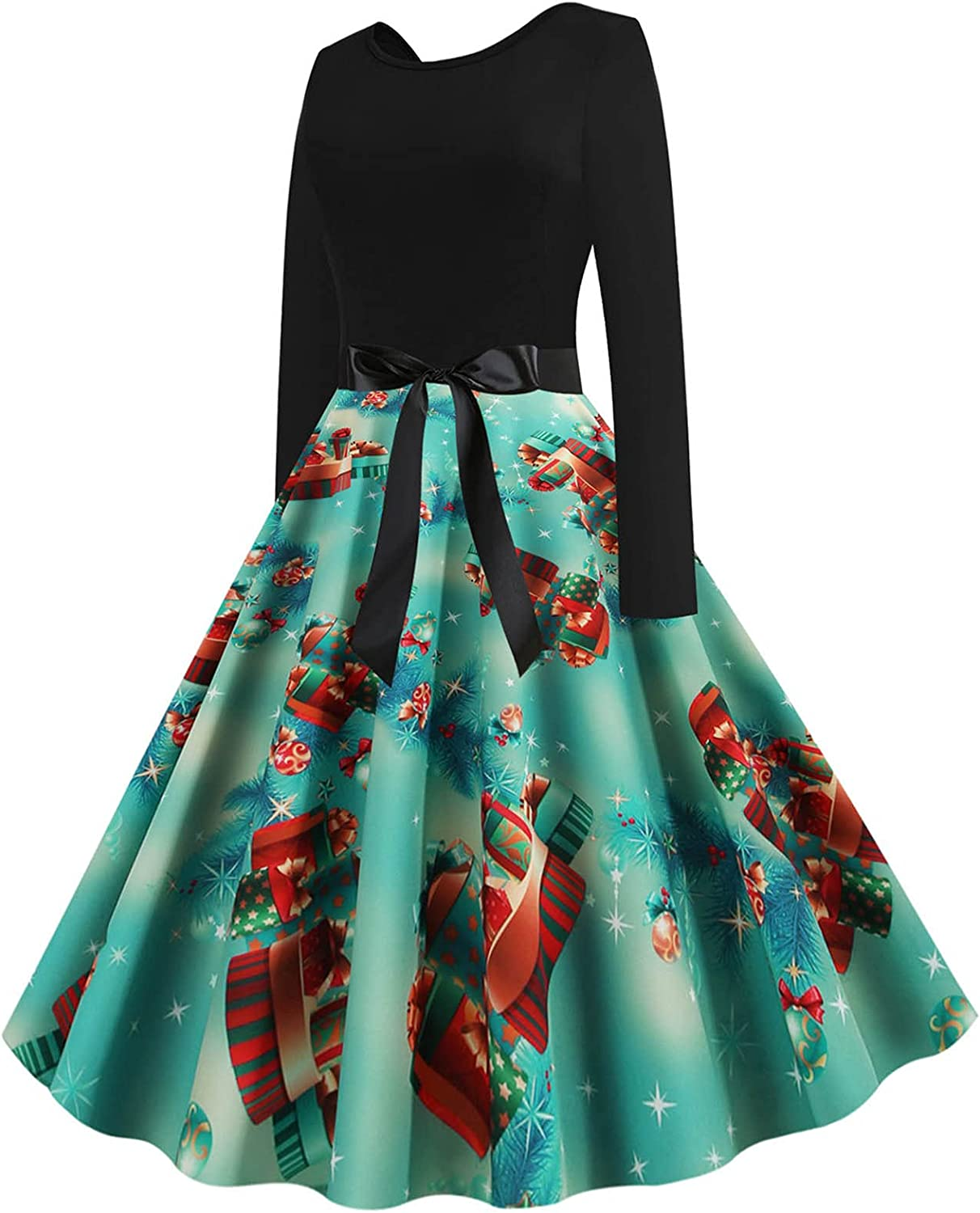 Hatoys Womens Dresses Bow Tie Christmas Austin Mall Dress Laced Waist Max 80% OFF Orname