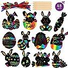 Mocoosy 48Pcs Easter Crafts Kit for Kids Scratch Art - Easter Bunny Eggs Ornaments DIY Paper Craft Easter Party Favor Home Decorations