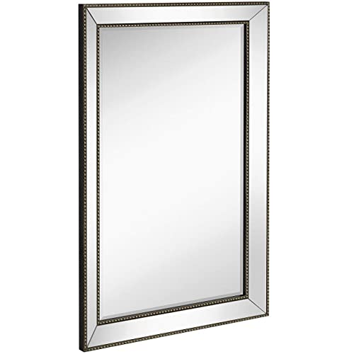 723640c3906a Large Framed Wall Mirror with Angled Beveled Mirror Frame and Beaded  Accents