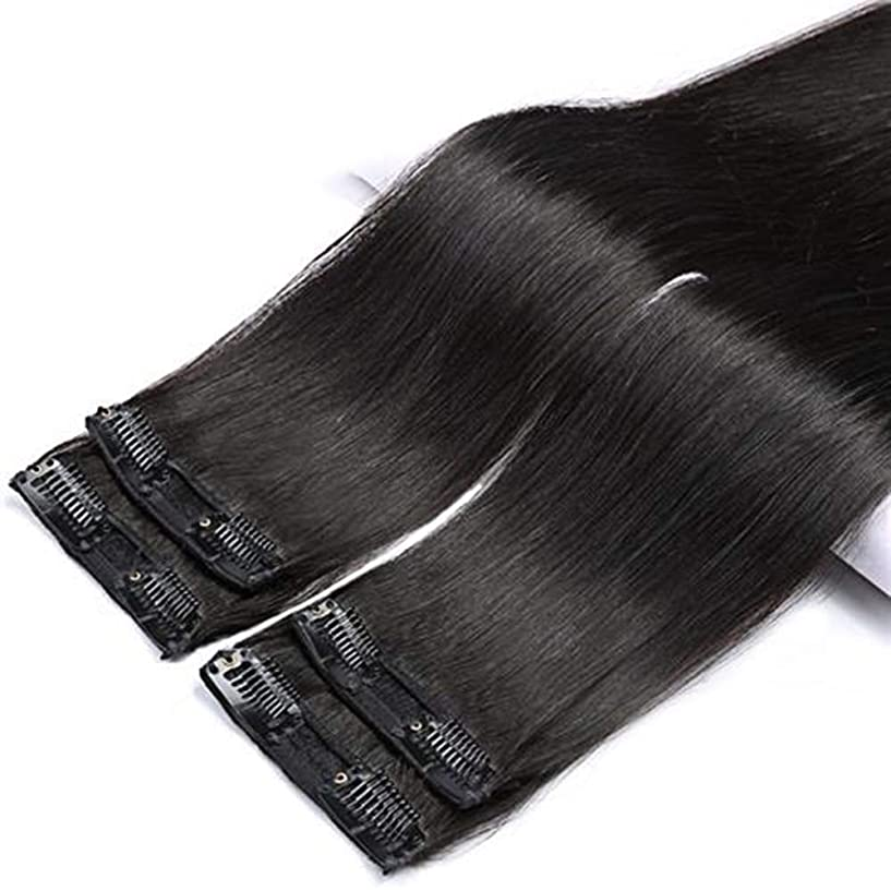 フリース納得させる心理的にBOBIDYEE 100%本物のヘアクリップヘアエクステンション - ナチュラルロングストレートヘアコンポジットヘアレースかつらロールプレイングウィッグロングとショートの女性自然 (色 : Natural color, サイズ : 2 clip/50cm)