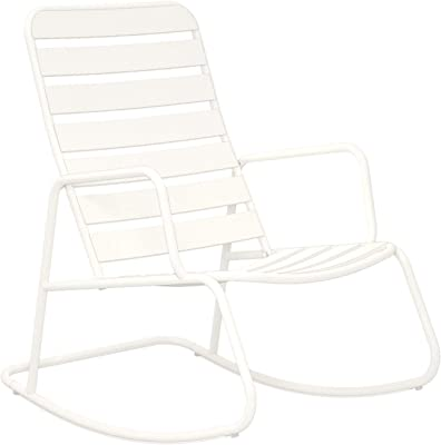 Novogratz 88065WHT1E Poolside Roberta Outdoor Rocking Chair, White
