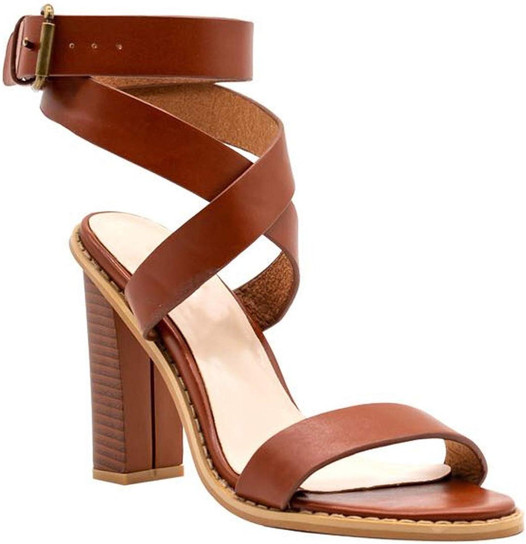 Summer Buckle high Heels Sandals Women Thick Heels Casual Elegant Women shoes Size Big 34-44