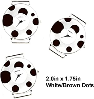 PlanetZia 2pcs Round Dotted Ribbon Watch Faces for Your Interchangeable Beaded Bands TVT-5748 (White/Brown Dots)