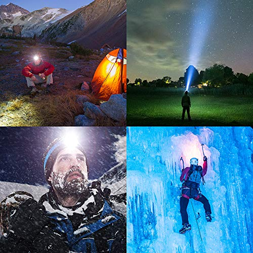 BrightestHeadlamp Flashlight, 8 LED USB Rechargeable Headlamp 18000 Lumen Waterproof Flashlight, Smart Infrared Sensor Switch, Adjustable Headband, 8 Modes Change Headlight for Camping, Hiking
