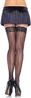 Leg Avenue Women's Sheer Stocking W/Back Seam Lace Top