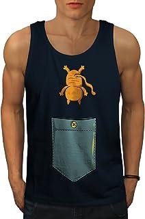 Wellcoda 可愛い ネコ ポケット おもしろいです 男性用 S-2XL タンクトップ