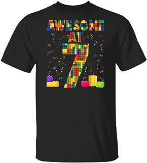 LeetGroupAU Kids Birthday for Kids 7 Building Blocks Bricks Theme Party T-Shirt