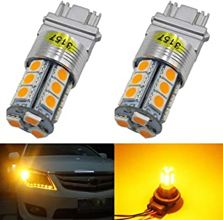 2-Pack 3157 3047 3057A 4157 Extremely Bright Amber/Yellow LED Light 12V-24V DC, 5050 18 SMD Car Replacement For Parking Turn Signal Light Lamps Tail Blinker Bulbs