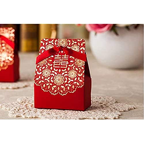 Zorpia 50 Pcs Shiny Glitter Sparkling gold flower chinese red wedding sweet box DIY Square Wedding Bridal Party Favor Candy Gift Boxes ZRA0168887(Red)