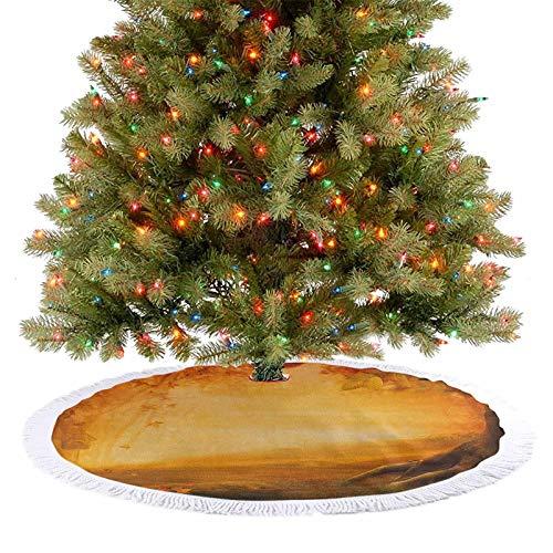 Alfombra para árbol de Navidad con diseño de valle misterioso con setas y hojas que caen, casa de pájaros, otoño, bosque, fina artesanía, decoración de vacaciones, caléndula, rojo y marrón, 122 cm