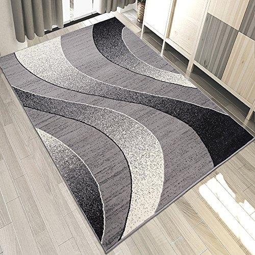 Carpeto Designer Teppich mit Modern Wellen Meliert in Grau - ÖKO TEX (130 x 190 cm)