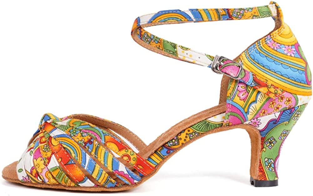 YKXLM Ladies & Girls Peep Toe Cross Strap Satin Floral Dance Shoes Salsa Tango Latin Modern Wedding Ballroom,Model