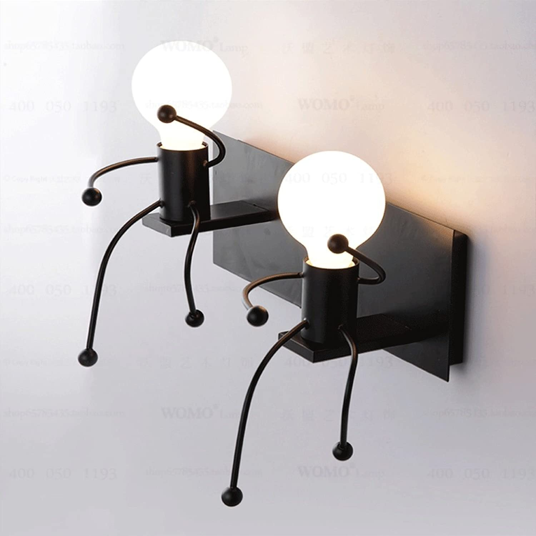 Amerikanischen Stil Kreative Einzigen Kopf Doppelkopf LED Wandleuchte Eisen Einfache Moderne Schlafzimmer Wohnzimmer Treppe Nachttischlampe Kann Gedreht werden 180 Grad (Design   2HEADS)
