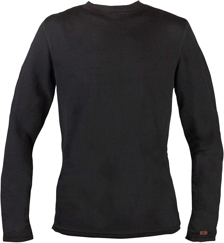 Omni-Wool Men's Thermal Base Layer Crew Top, Black, Large