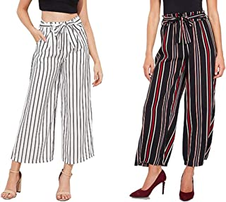 "Aglobi"" High Waisted Lounge Wide Lining Palazzo Pants Capris for Womens/Girls Pack of 2 (White, Red-Lining) Free Size"