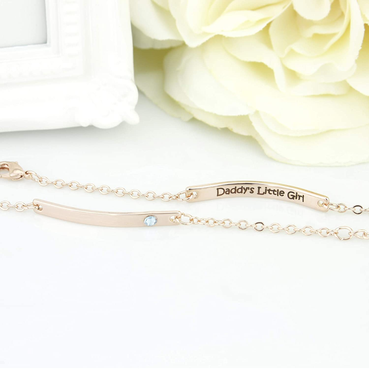 Rose Gold Max 50% OFF Birthstone Bracelet Bar Girls for Mothers specialty shop Day