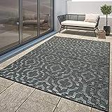 TT Home Moderner Outdoor Teppich Wetterfest Innen & Außenbereich Marokko Design In Grau, Größe:120x170 cm