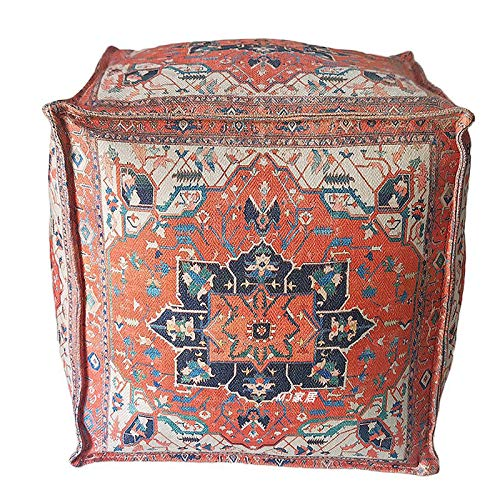 V-Parasoll Moroccan Pouf Bohemian Floor Pillow,Vintage Floral Ottoman Stuffed,Square Footstool Boho Floor Stool for Living Room Bedroom and Under Desk