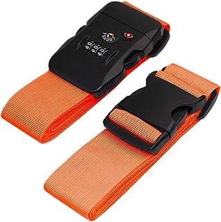 BlueCosto Luggage Strap TSA Approved Combination Lock Adjustable Suitcase Straps Travel Belt - Orange