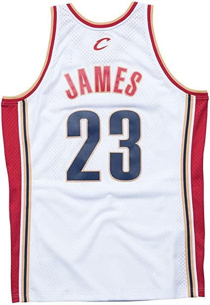 Lebron James Cleveland Cavaliers Mitchell and Ness Men's White Throwback Jesey