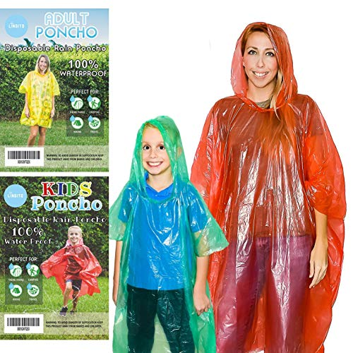 20 Pack of Family Rain Ponchos | Disposable Emergency Ponchos | Perfect for Camping, Hiking & Travel