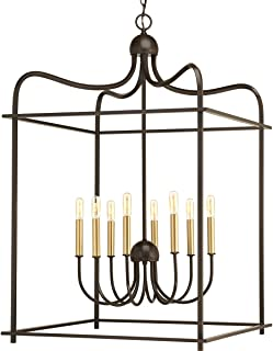 Progress Lighting P500097-020 Assembly Hall Eight-Light Pendant, Brown