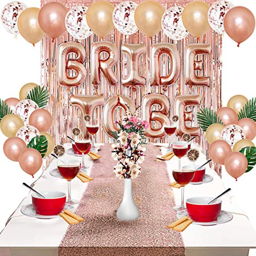 HelloCreate Party Decoraties Accessoires, Bruid om Sash Metallic Folie Gordijn Ballonnen Tafelkleed Bruids Douche benodigdheden Rose Goud Bachelorette Party Decor Kit