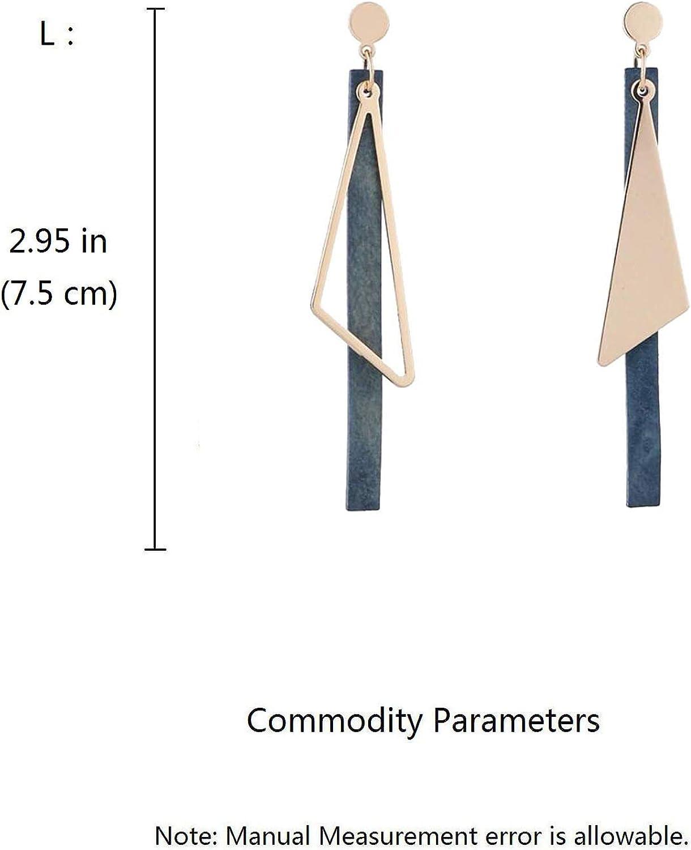 Retro Clip on Earrings for Women Girls Wooden Long Tassel Gold Tone Geometry Dangle Drop Non Pierced