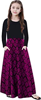 KYMIDY Girl Maxi Dress Kids Elegant Long Sleeve Casual Floral Dresses with Pockets for Girls 6-12T